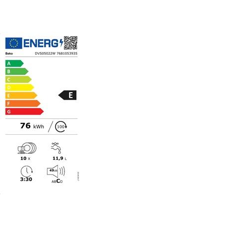 BEKO MOSOGATÓGÉP 10 TERÍTÉK KESKENY DVS05024S E energiahatékonysági osztály